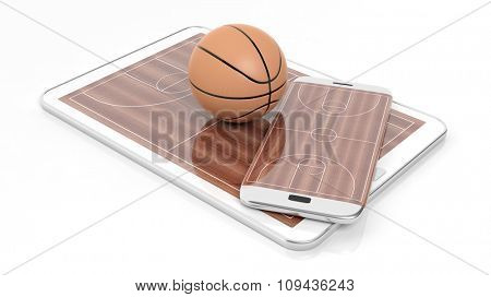 Basketball field with ball on smartphone edge and tablet display, isolated on white.