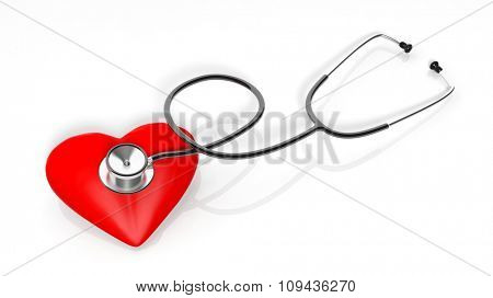 Stethoscope and heart icons, isolated on white background.