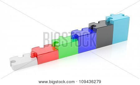 Colorful puzzle pieces as stair or graph bars, isolated on white.