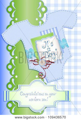 Card In Scrapbooking Style For Greetings With Newborn Boy