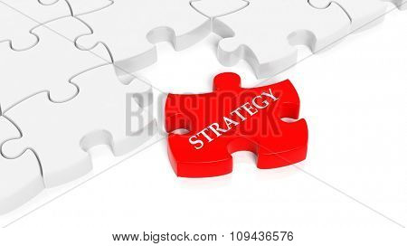 Abstract white puzzle pieces background  with one red with Strategy text.