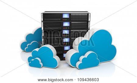Server rack and cloud icons isolated on white background.