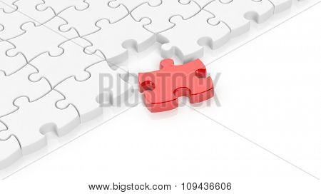 Abstract white puzzle pieces background  with one red and copy-space.