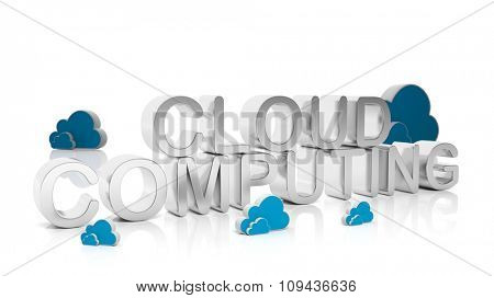 Cloud Computing silver text with cloud icons, isolated on white background.