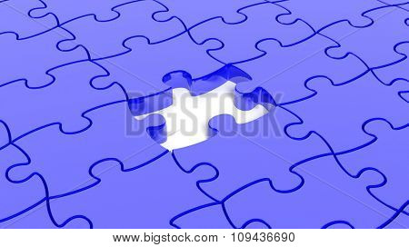 Abstract background with blue puzzle pieces one piece missing.