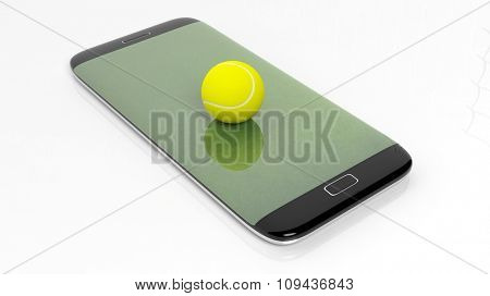 Tennis field with ball on smartphone edge display, isolated on white.