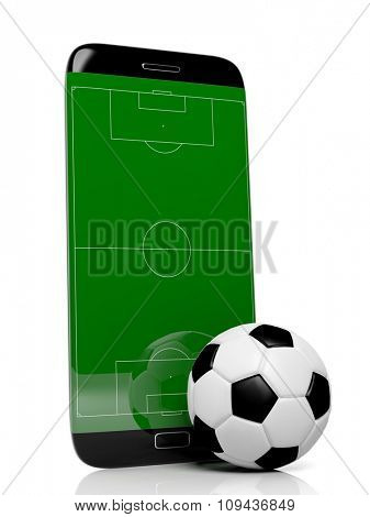 Soccer field with ball on smartphone edge display, isolated on white.
