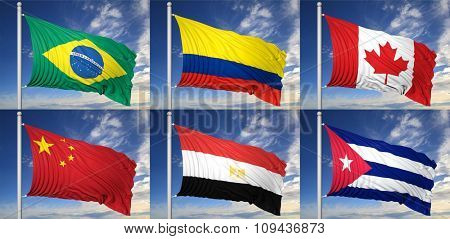 Collection of six flags of Brazil,Colombia,Canada, China,Egypt,Cuba