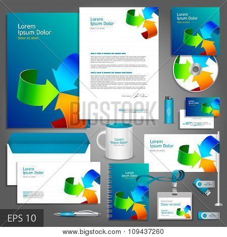 Blue Corporate Identity Template With Color Arrows