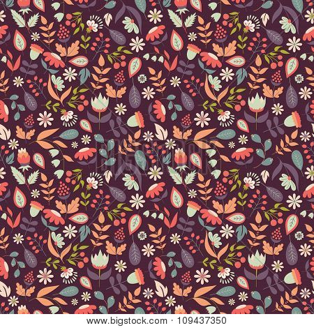 Floral Seamless Pattern With Doodle Flowers And Leaves.
