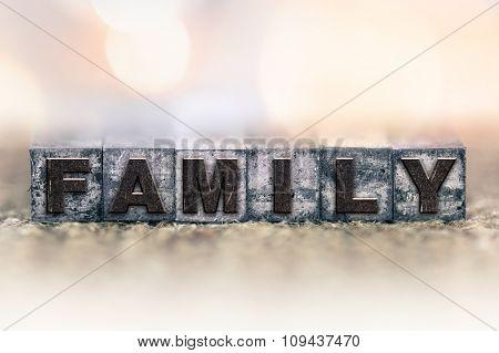 Family Concept Vintage Letterpress Type