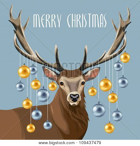 Christmas deer and christmas tree toys