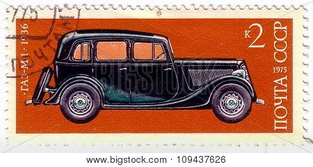 Ussr - Circa 1975: A Stamp Printed In Ussr Vintage Car