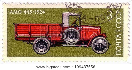 Ussr - Circa 1973: A Stamp Printed In Ussr Shows Shows Amo-f-15 The First Soviet Truck, Series Of Im