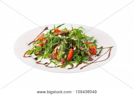 Bowl Of Fresh Rucola Salad With Cherry Tomatoes