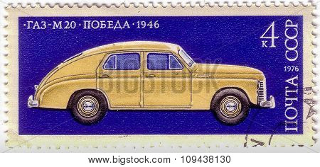 Ussr - Circa 1976: A Stamp Printed In Ussr Shows Gaz-m20 Pobeda (victory), Made In 1946, Development