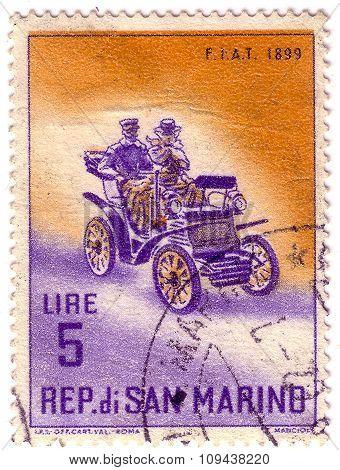 San Marino - Circa 1961: Stamp Printed By San Marino, Shows Old Fiat Auto, Circa 1961.