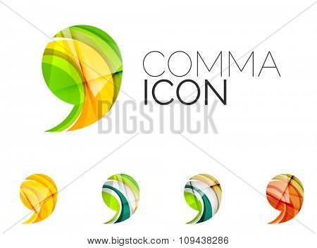 Set of abstract comma icon, business logotype concepts, clean modern geometric design. Created with transparent abstract wave lines