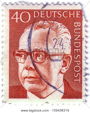 A stamp printed in Germany showing a portrait of Federal President Gustav Walter Heinemann, circa 19