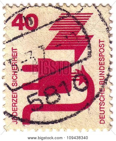 Germany - Circa 1972: A Stamp Printed In The Germany Shows Defective Plug, Accident Prevention, Circ