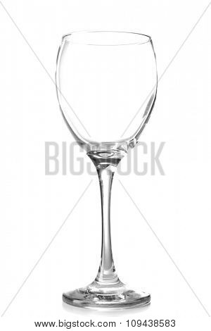 Empty wine glass on table isolated on white