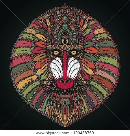 Hand Drawn Vector Ornate Baboon Face Illustration