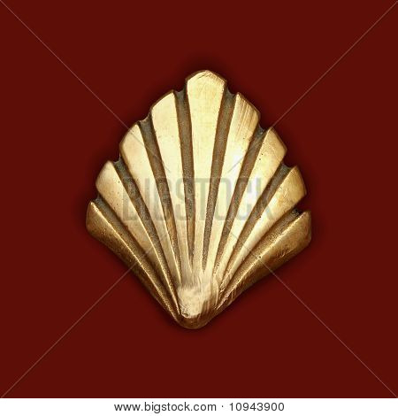 Way Of Saint James Symbol Shell Golden Metal
