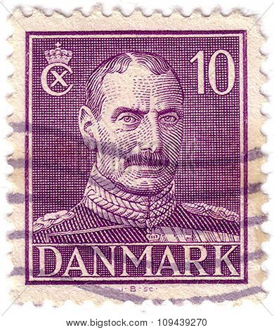 Denmark - Circa 1942: A Stamp Printed In Denmark Shows King Christian X, Circa 1942.