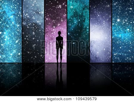 Universe, stars, constellations, planets and an alien shape. Space backgrounds collection.