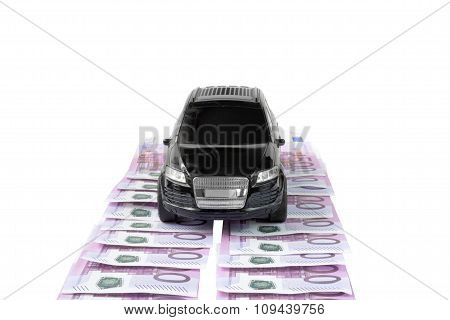 Car Vehicle On Money Bill On White Background