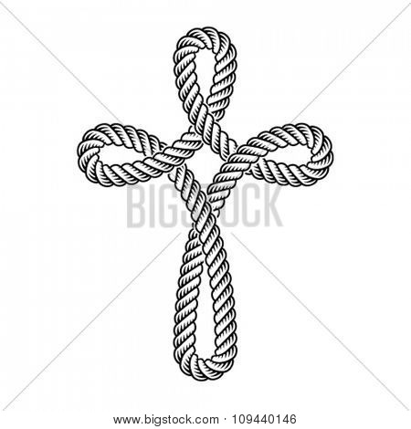 vector christian cross rope symbol