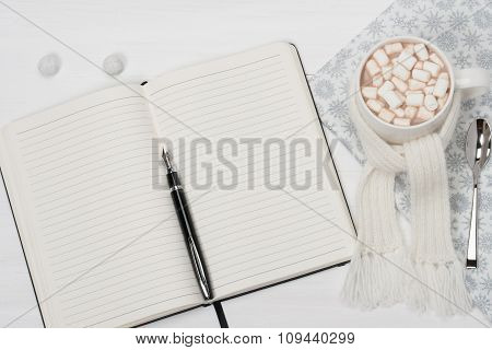 Blank Open Notepad. Mug Of Hot Chocolate With Scarf. Christmas D