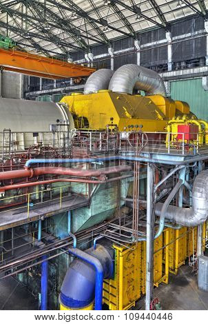 Machine room in thermal power plant