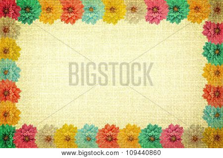 Vintage Frame With Dahlia Flowers And Old Yellow Cloth Texture Retro Styled High Contrasted With Vig