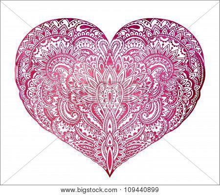 Beautiful Hand Drawn Ornate Heart In Zentangle Style