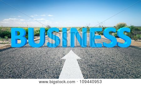 An image of a road to the horizon with 3d text business