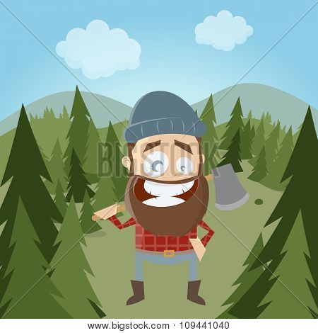 funny cartoon lumberjack in forest