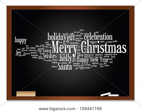 Concept conceptual Merry Christmas holiday or Happy New Year winter abstract text word cloud on blackboard background