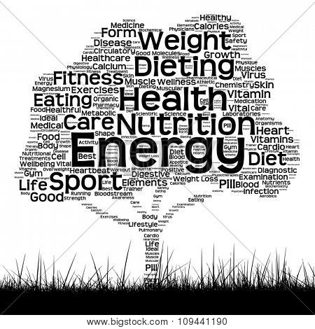 Concept or conceptual black health text word cloud as tree and grass isolated on white background