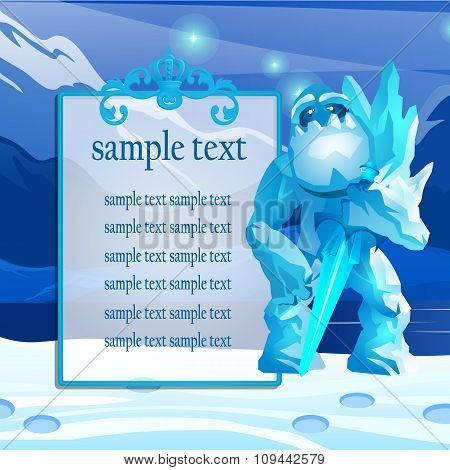 Cute monster from the ice in the mountains, poster with space for text