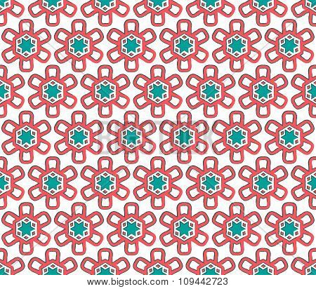 Red And Emerald Colors Snow Flake Christmas Paper
