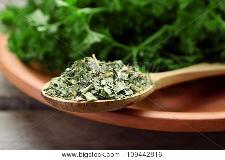 Fresh and dried parsley on plate closeup