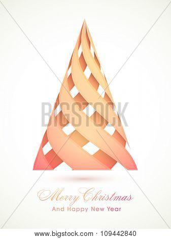 Creative stylish Xmas Tree for Merry Christmas and Happy New Year celebration.