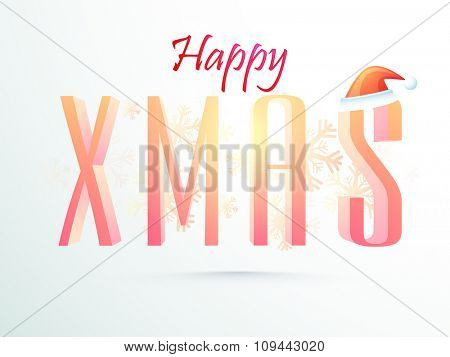 3D glossy text Xmas with Santa cap on Snowflakes decorated background for Merry Christmas celebration.