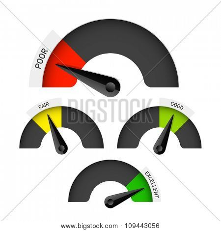 Poor, fair, good and excellent colorful gauge. Vector.