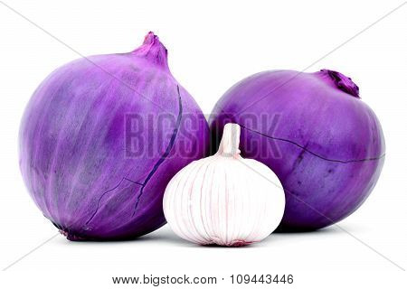 Two purple onions with gaps on skin and garlic isolated