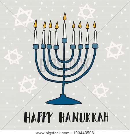 Cute Hanukkah Greeting Card, Invitation With Hand Drawn Menorah, Vector