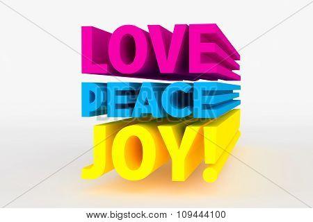 Big 3D Bold Text - Love Peace Joy
