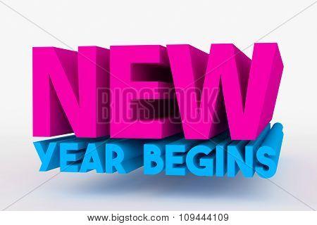 Big 3D Bold Text - New Year Begins