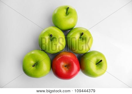 A bunch of apples, unique and individuality concept, top view